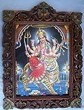 Indian Godess Maa Vaishano Devi with her lion &武器ポスターでのペイントの木製工芸品フレーム