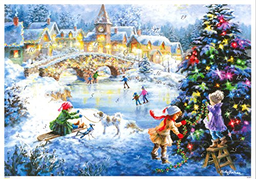ドイツ製 アドベントカレンダー クリスマスツリーと雪あそび(10387)