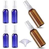スプレーボトル Maxku 6個セット 100ml/50mlスプレーボトル 詰替ボトル 遮光瓶 空容器 霧吹き 化粧品 収納瓶 液体用空ボトル(ダークブラウン ブルー)