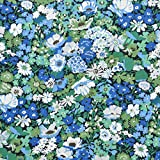 LIBERTY ソープ タナローン生地 全3色 リバティプリント 花柄 生地 布 (オリーブグリーン&ロイヤルブルー)