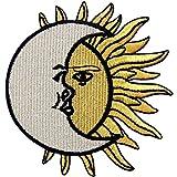 クレセント 太陽の月 刺繍入りアイロン貼り付け/縫い付けワッペン