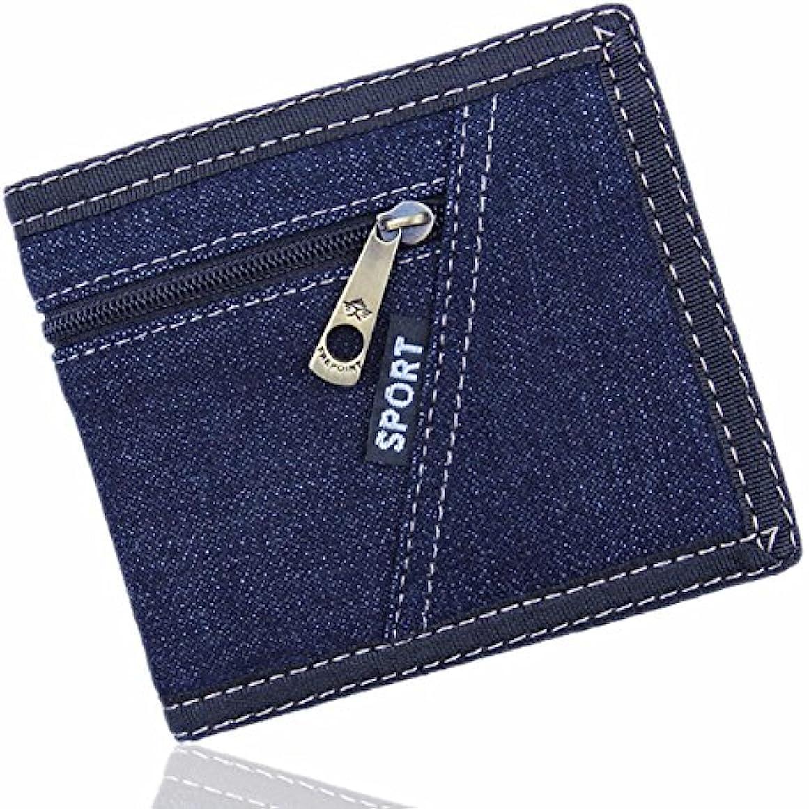 貫通する地雷原農村Everdoss メンズ 財布 短い財布 二つ折り デニム カード入れ 小銭入れ 個性 シンプル 軽い薄い スポーツ