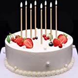 MOKARO Birthday Candles Bulk Champagne Gold 5.3inch Long Thin Celebration Cake Candles for Luxurious Christmas Birthday Weddi
