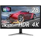 Acerゲーミングモニター SigmaLine 28インチ 4K KG281KAbmiipx TN 3840x2160 1ms 60Hz FreeSync HDMIx2 DP HDR対応 フレームレス スピーカー内蔵 ブルーライト軽減