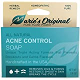Marie's Original Acne Bar Soap Cleanser for Face and Body | Homeopathic Acne Treatment with Organic Oat Bran, Sassafras Album