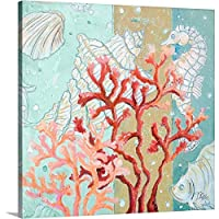 "Patricia Pintoプレミアムシックラップキャンバス壁アート印刷題名Coral Reef II 16"" x 16"" 2332235_24_16x16_none"