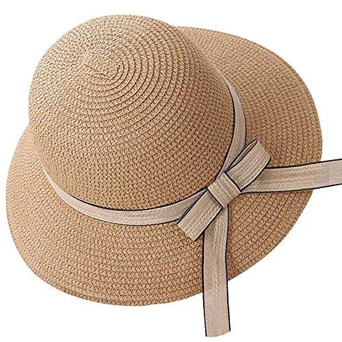 YUUWA麦わら帽子 日除けストローハット レディース UVカット 折畳み可能 リボン付き つば広 中折れ あご紐付き カラフル カーキ