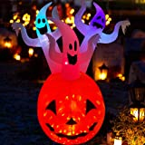 RETRO JUMP 6 Ft Halloween Inflatables Pumpkin Ghosts Combo Blow up Spooky Holiday Flash Lighted Decoration for Indoor Outdoor