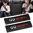 シートベルトカバー Infiniti インフィニティの Qingtech カーボンファイバーカーシートベルトショルダーストラップパッド(2パック)