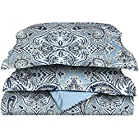 Superior Luxury Paisley Bedding, 100% Brushed Microfiber Duvet Cover Set with Shams, Silky Soft, Light Weight, and Wrinkle Resistant - King/California King Duvet, Light Blue & Light Blue