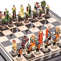 Robin Hood & the Sheriff of Nottingham Chessmen & Seventh Avenue Carbon Fiber Chess Board/Box with two Drawers. by
