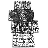 大胆なブロックデザイン - 象の抽象画 ペイント モノ 動物 マルチキャンバス アート プリント ボックス 額入り写真 壁掛け - 英国製 - 額入りですぐに掛けられます (B) 120x68cm 13-8273(00B)-MP04-PO-B
