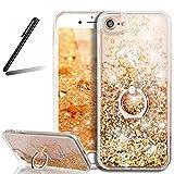 iPhone 5 ケース,iPhone SE 流れる 液体 ケース,iPhone 5S カバー,SKYMARS 衝撃防止 スタンド機能式 携帯カバー 流れる フローティング ラグジュアリー グリッター ス バンパー ケース iPhone 5 / 5S / SE カバー (Rotating Golden)