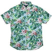 Ralph Lauren Polo Men's Short Sleeve Tropical Floral Slim Fit Oxford Shirt Blue (Blue, Medium)