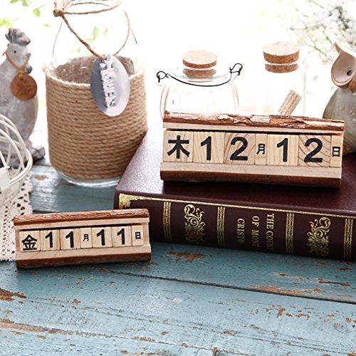 JJdo木製カレンダー インテリア部屋 カフェー飾り物 日替わり 贈り物 プレゼント 手作りの工芸品  (5*6*16.5cm)