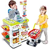 Kids Supermarket Playset with Toy Shopping Cart, Toy Cash Register, Checkout Counter, Working Scanner, Play Money, 23 Play Fo