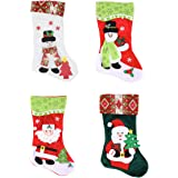 """Joiedomi Pack of 4 18"""" 3D Plush Christmas Stockings for Christmas Decorations"""