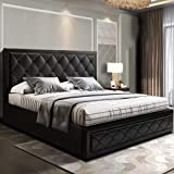 Artiss King Size Leather Bed Frame with Gas Lift Storage Black