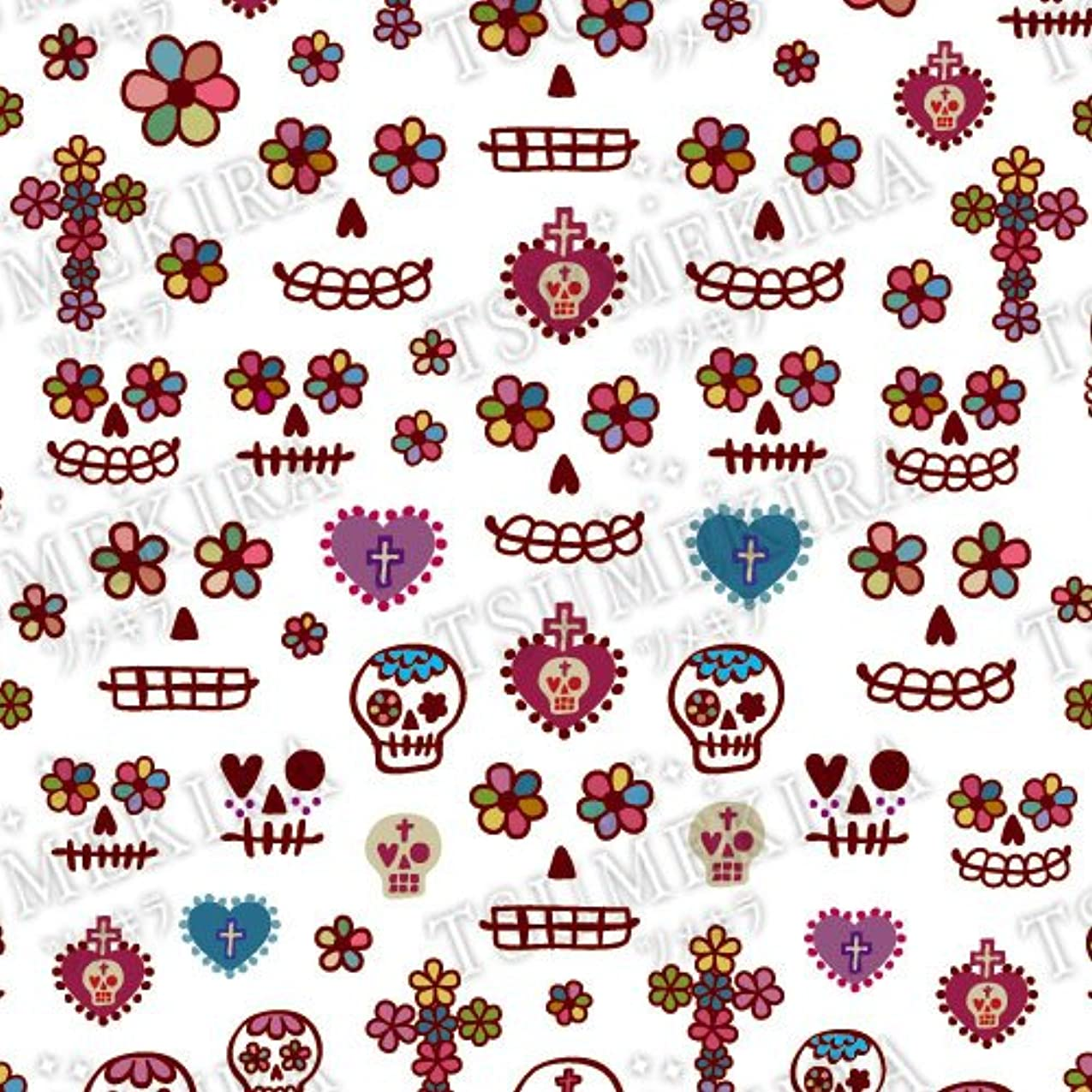 セーブ誠実精通したツメキラ ネイル用シール メンズスタイル メキシカンスカル マルーン