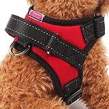 【Realpet】犬用ハーネス 小型犬 中型犬 大型犬 胴輪 引っ張り防止 愛犬の咳き込み軽減に ポリエステル製 通気性が抜群 3色4サイズ選択可能 (レッド M)