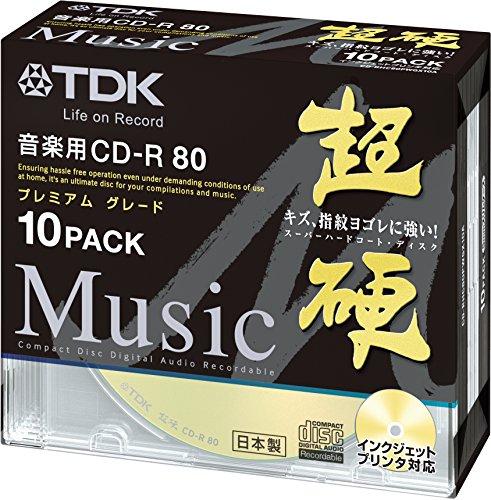 TDK 音楽用CD-R ハードコート仕様 超硬シリーズ 日本製 80分 ゴールドワイドプリンタブル 10枚 CD-RHC80PWGX10A