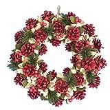 彩か SAIKA 【クリスマス】 リース 赤 緑 レッド グリーン デコレーション 飾り Natural Wreath (Red) CXO-33