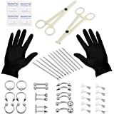 Stuppendux Disposable Stainless Steel 52pcs Body Piercing Kit 16G 14G (Belly Button,Tongue, Eyebrow, Nipple, Lip, Nose, Chin)