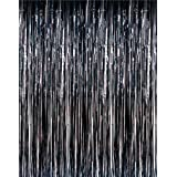 3' x 8' Black Tinsel Foil Fringe Door Window Curtain Party Decoration by RI Novelty