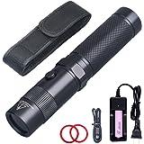 Lightfe Blacklight 365nm UV Flashlight 18650 Rechargeable Battery Black Filter Lens for UV Curing Light, Pet Urine Stain Dete