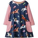 Toddler Girls Dress Cartoon Cotton Kids Snowman Long Sleeve T-Shirt Casual Stripe Dress Christmas