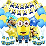 誕生日飾り付け ミニオン カートゥーン 黄色い ブルー 大きなミニオン風船 子供 ベビーシャワー100日半歳1歳 飾り 部屋装飾
