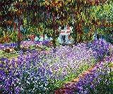 絵画風 壁紙ポスター(はがせるシール式) クロード・モネ モネの庭のアヤメ 1900年 オルセー美術館 キャラクロ K-MON-024S1 (705mm×585mm) 建築用壁紙+耐候性塗料