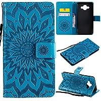 絶妙なレザー電話ケース ひまわりの印刷デザインサムスンギャラクシーJ7デュオのためのブラケットカードスロットデザインとPUレザーフリップウォールストラップ保護ケース (色 : 青)