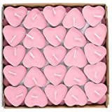 YMOON 50 Pack Heart Shaped Unscented Tea Lights Candles - Smokeless Tealight Candles - Decorations for Wedding, Party, Votive