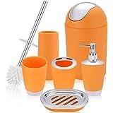 6 Piece Bathroom Accessories Set,Plastic Bath Ensemble Bath Set Lotion Bottles, Toothbrush Holder, Tooth Mug, Soap Dish, Toil
