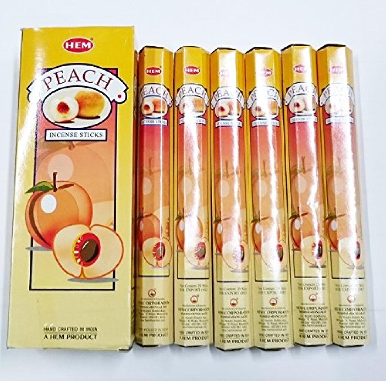 厄介な道路アクロバットHEM (ヘム) インセンス スティック へキサパック ピーチ香 6角(20本入)×6箱 [並行輸入品]Peach