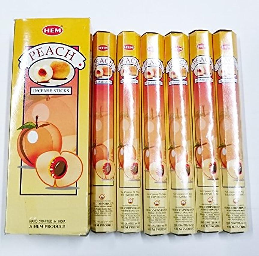 バクテリアクライアントベジタリアンHEM (ヘム) インセンス スティック へキサパック ピーチ香 6角(20本入)×6箱 [並行輸入品]Peach