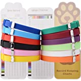 EXPAWLORER Puppy ID Collars 12pcs - Soft Silicone Whelping Identification Collar with Record Keeping Charts, Make Holes by Yo