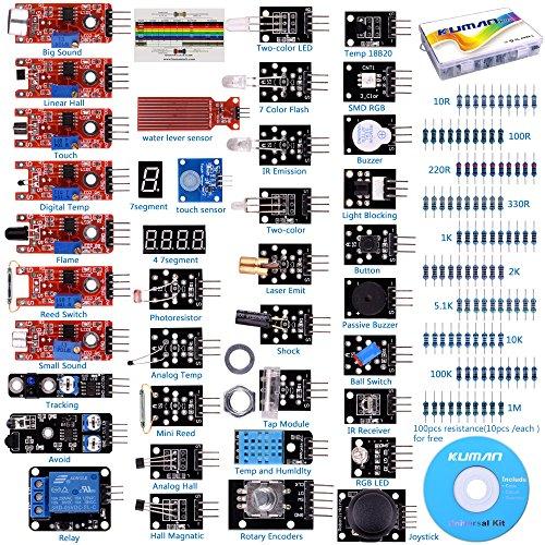 Kuman 37個 ArduinoとRaspberry Pi用センサー 温湿度 光中断 アナログ ホール センサモジュール 電子工作キット UNO R3 実験用 Pi 3 2 B B+に交換 K5