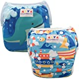 ALVABABY ベビー 防水 水着 再利用可能 布 スイムパンツ 水遊び用 おむつ 可愛い 2枚セット