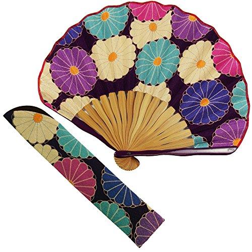 扇子 女性 扇子袋・ハンカチセット 大菊(紫) 箱入り おしゃれ ちりめん 女性用 レディース 扇子