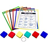 PDX Reading Specialist Dry Erase Pocket Sleeves - 6 Assorted Colors - Oversized Plastic Sheet Protectors - Bonus 6 Magnetic W