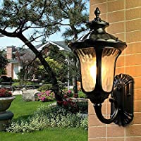 Xwyun 壁掛けライト ヨーロッパガラス 防水 屋外 壁面ライト LED 省エネベッドサイドランプ、アルミ製のレトロな壁 廊下 バスルーム ウォールランプ (B:サイズ38×20cm)