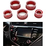 Thor-Ind 5PCS Aluminum Car Center Console Knobs Decoration AC Air Conditioning+Audio+Function+Rear Mirror Knob Switch Covers