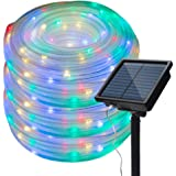 Honche Solar Rope Lights Outdoor Waterproof Led Tube String Lights Chain for Wedding Patio Garden (Multi Color 33FT 100L)