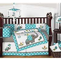 Sweet Jojo Designs 9-Piece Turquoise Blue Gray and White Mod Elephant Crib Bed Bedding Set with Bumper for a Newborn Baby Girl or Boy [並行輸入品]