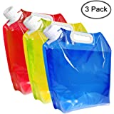 maxin 5 litres Collapsible Water Container,BPA Free Plastic Water Carrier Folding Water Bag Set of 3 for Outdoor Camping Back