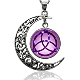 Gemingo Sterling Silver Witch Craft Necklace Glass-Dome Wiccan Charm Pendent Necklace