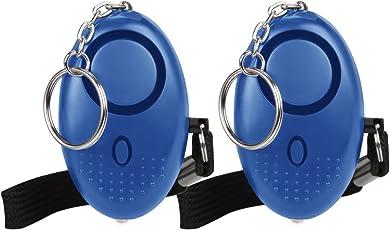 防犯ブザー 防犯アラーム Qosea 140dB爆音 LEDライト付き 小学生/女性/お年寄り 大音量アラーム 痴漢撃退 誘拐防止 ピンを抜くだけ 2個セット 卵型(ブルー)