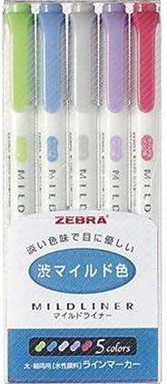 ゼブラ 蛍光ペン マイルドライナー 渋マイルド色 NC5色 WKT7-5C-NC